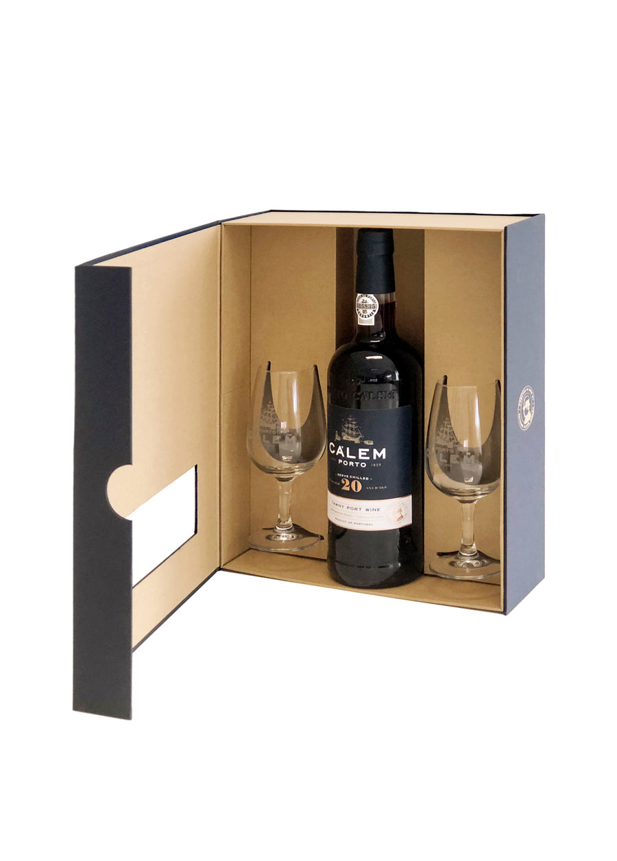 GIFT PACK CÁLEM 20Y TAWNY + 2 CÁLICES