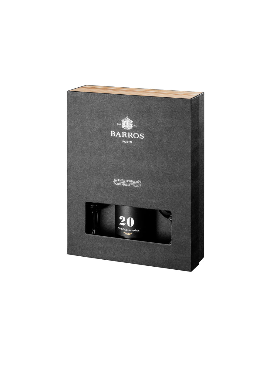 GIFT PACK BARROS 20Y TAWNY + 2 CÁLICES
