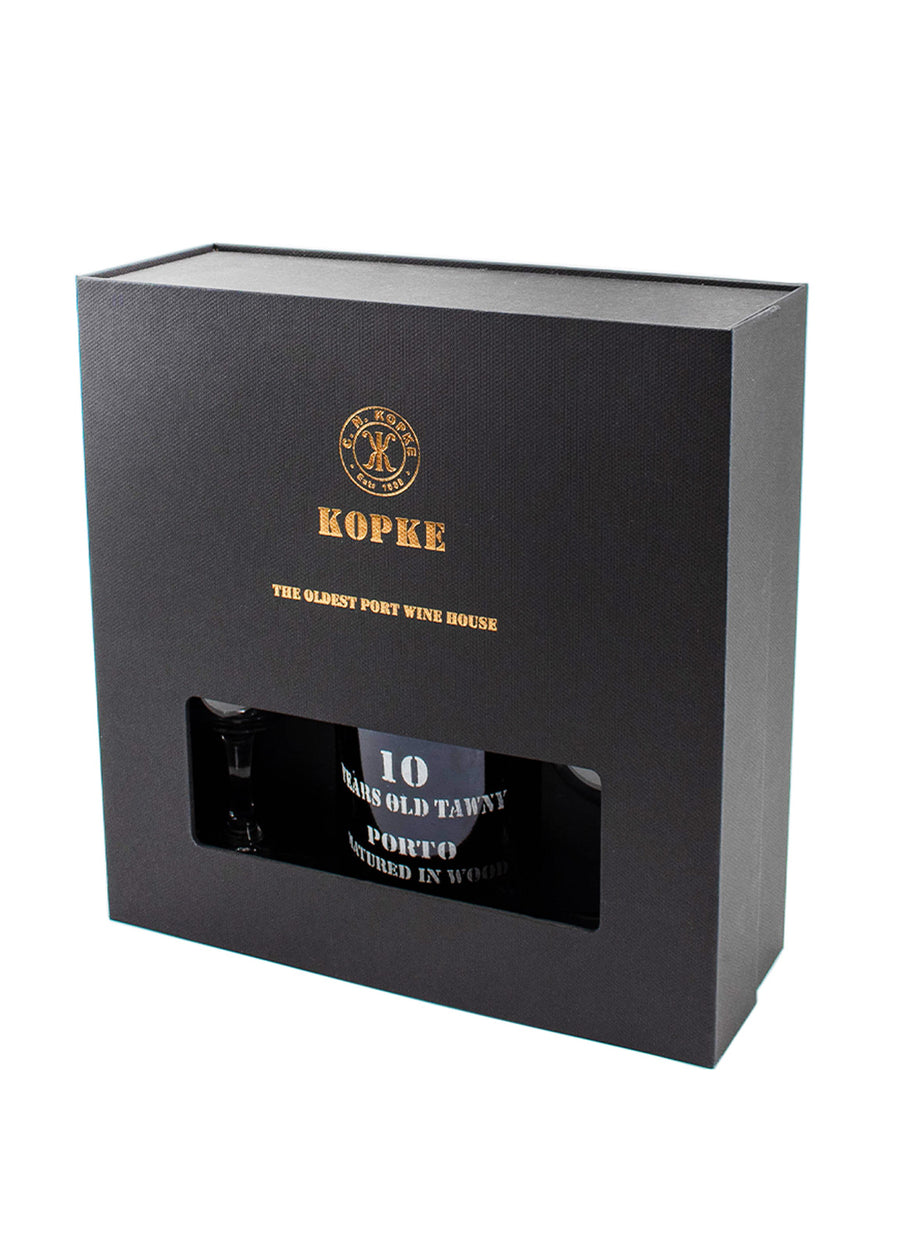 GIFT PACK KOPKE 10 ANOS TAWNY + 2 CÁLICES