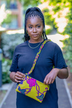 Load image into Gallery viewer, african wax print crossbody bag yellow