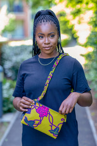 african wax print crossbody bag yellow