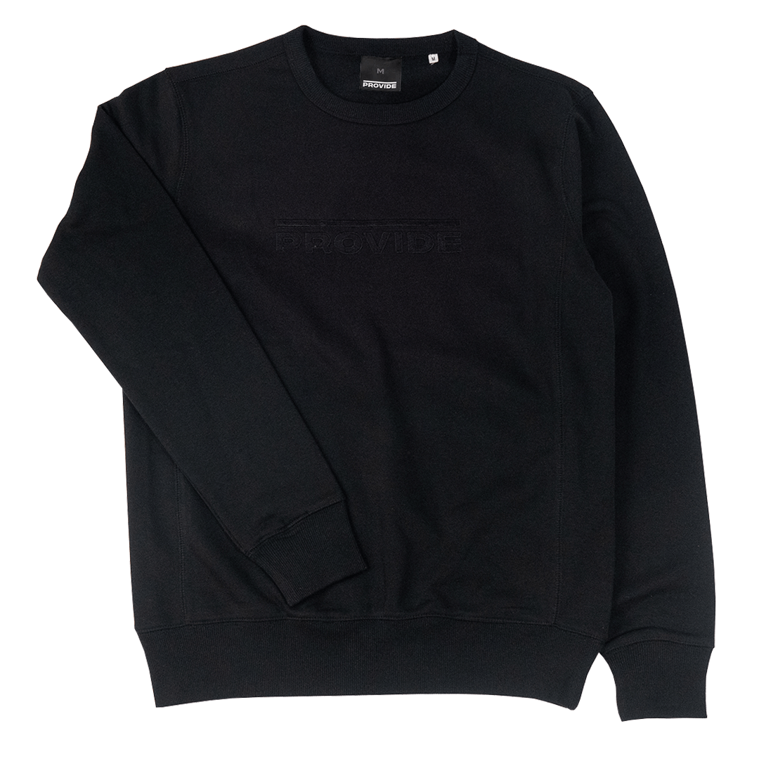 Embroidered Overline Crewneck (Black)