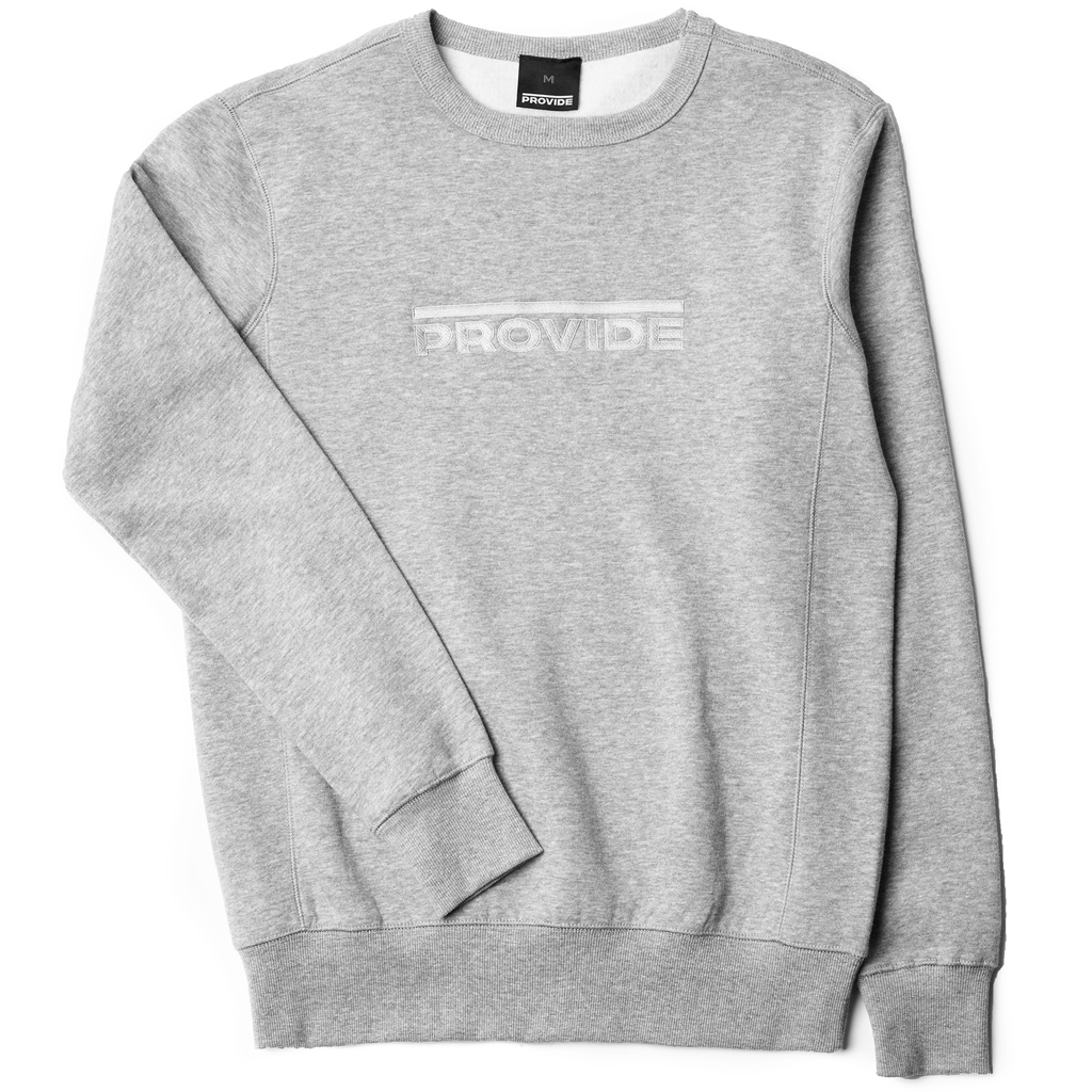 Embroidered Overline Crewneck (Grey)