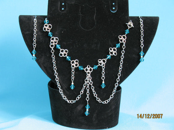 Sterling Silver Medieval Chainmail Necklace set