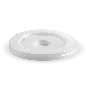 8-20oz (90mm DIA) PS White Large Lid - Staw Slot- 2000 Lids