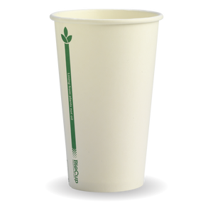 12oz (80mm) White Green Line BioCup - 1000 Cups
