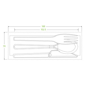 "6"" PSM Knife,Fork,Spoon and Napkin Set Retail Box"