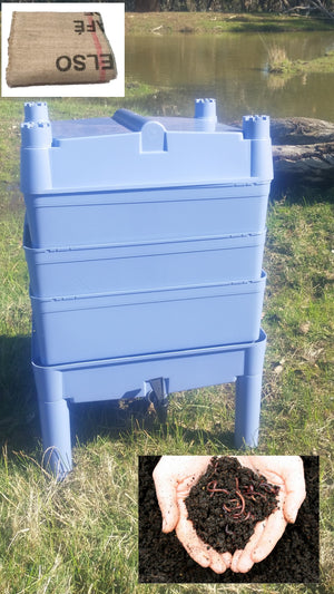 Worm Farm Castle (Made in Australia 100% Recycled) Blue w/ Free Worm Blanket  w/1000 Worms approx Combo - Eco R Us