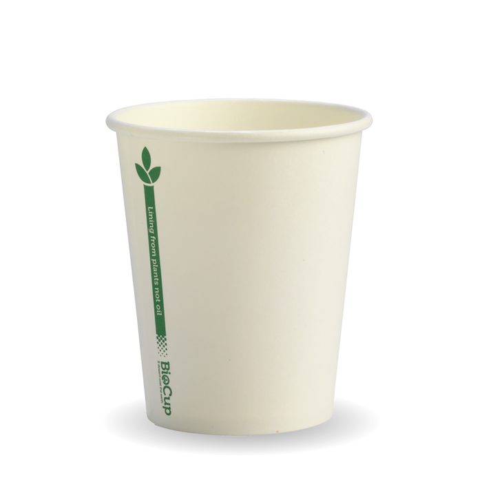 8oz White Green Line BioCup - 1000 Cups