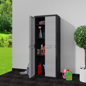 Eco R Us- Garden Storage Cabinet with 3 Shelves Black and Grey