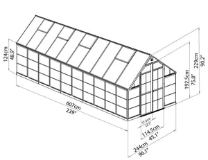 Maze 8′ x 20′ Grey Frame Greenhouse