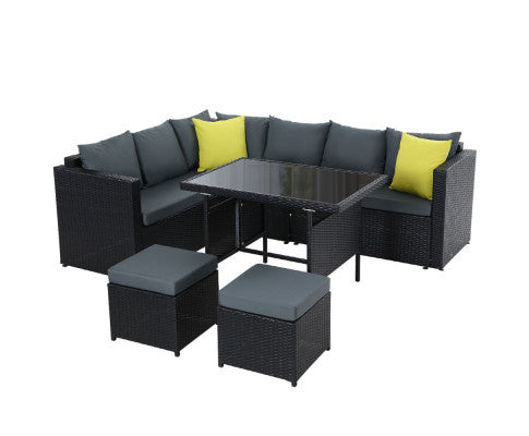 Eco R Us- Outdoor Furniture Patio Set Dining Sofa Table Chair Lounge Wicker Garden Black- Pre Order Mid Nov