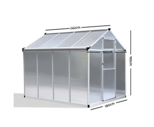 Green Fingers 2.4m x 1.9m Polycarbonate Aluminium Greenhouse