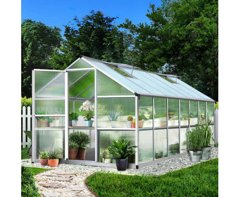 Green Fingers 4.2m x 2.5m Polycarbonate Aluminium Greenhouse- Pre Order End October