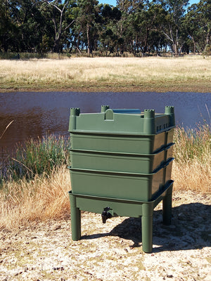 Worm Farm Castle- New Colour (Made in Australia 100% Recycled) Gumleaf Green w/ Free Worm Blanket