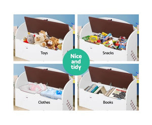 Eco R Us - Eco-friendly Kids Storage Box Bench - White & Brown