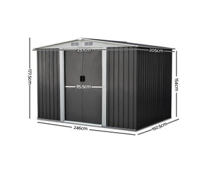 Garden Shed Eco R Us 2.05 x 2.57m Steel with Roof - Grey
