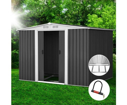 Garden Shed Eco R Us 2.05 x 2.57m Steel with Roof - Grey Pre Order Mid October