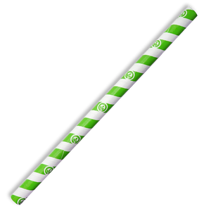 10mm Jumbo Green Stripe BioStraw- 2500pcs