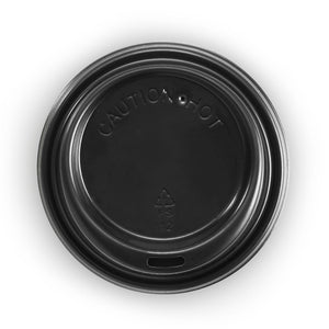 6, 8, 10 and 12oz (80mm DIA) PS Black Small Lid - 1000Lids