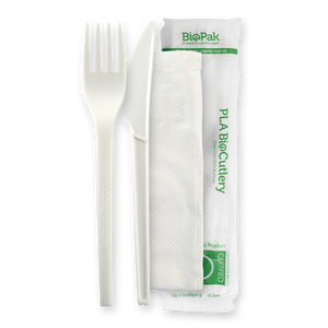 "6.5"" PLA Knife, Fork and Napkin Set- 250pcs"