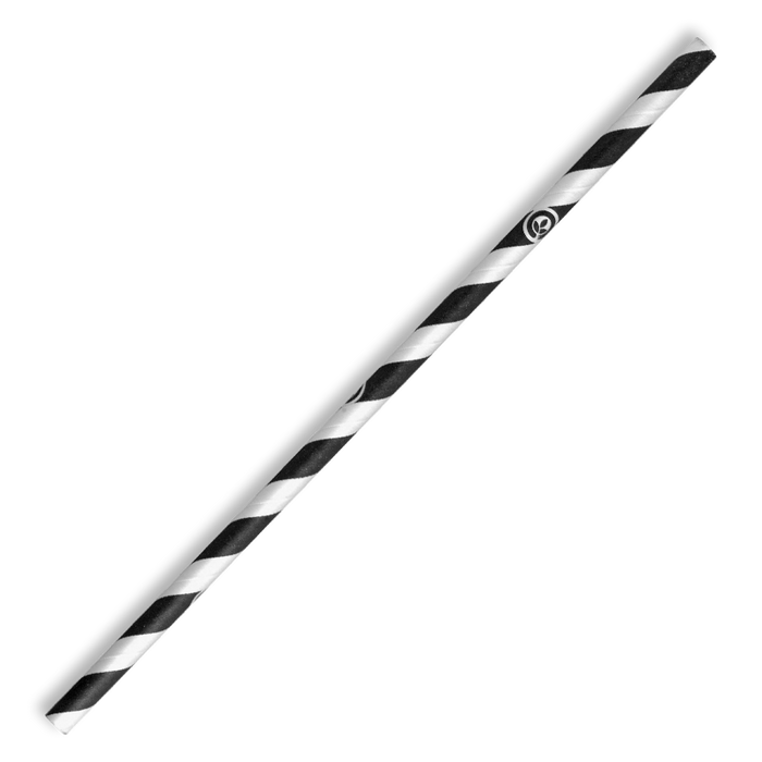 6mm Regular Black Stripe BioStraw- 2500pcs