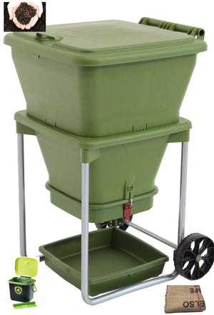 Worm Farm Hungry Bin w/1200 Worms (approx), Caddy w/bags, Worm Blanket -$12.20 Shipping Australia Wide