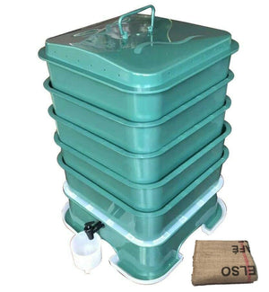 Worm Farm Drk Green Vermihut MK2 4 Tray Free Worm Blanket Included- limited stock left