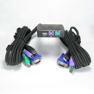 2 Way Mini KVM PS/2 Switch & USB port with Attached Cable (5Ft) KVM2WAY-Computers & Accessories-Jayso-Default-Jayso Electronics