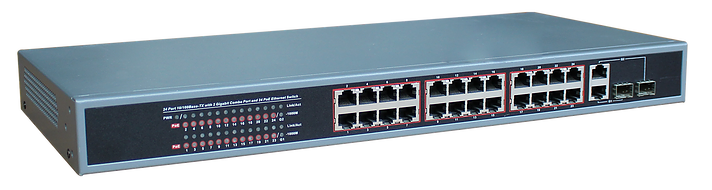 24-Port Ethernet Switch with 24-Port PoE, 10/100 Mbps JTI-PDE24GFW-370-Computer & Accessories-Various-Jayso Electronics