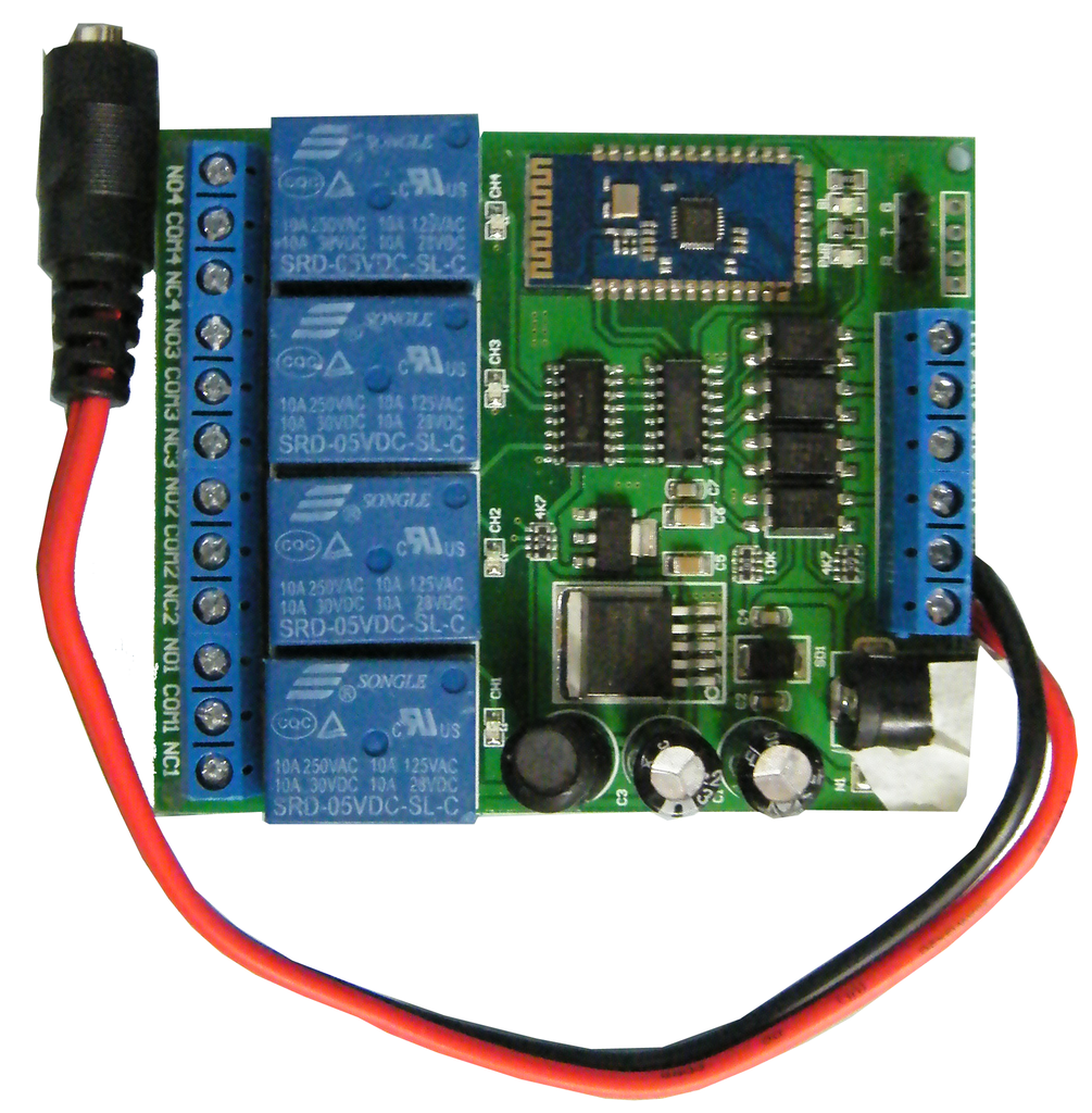 "4-Channel Bluetooth Controlled Relay w/ Form ""C"" Contact for Android JBT4R-A-Timers & Relays-Various-Jayso Electronics"