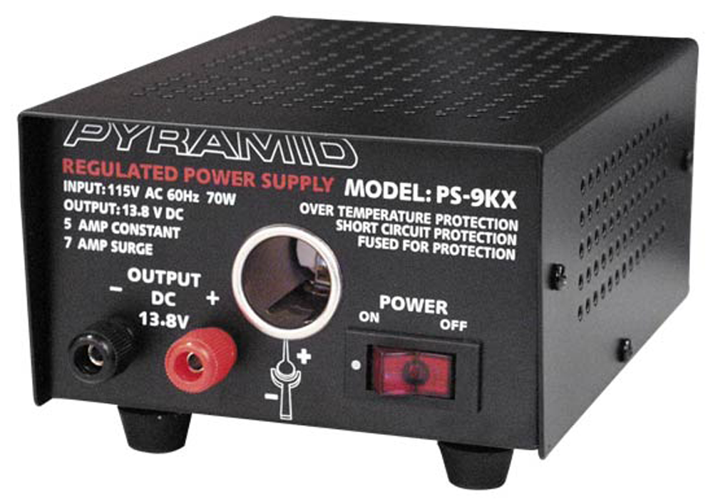 5 Amp Regulated Power Supply, 13.8 (12)VDC, Bench/Shelf Mount, With Automotive Style Power Port PS-9KX-Batteries, Power Supplies, & Transformers-Various-Jayso Electronics