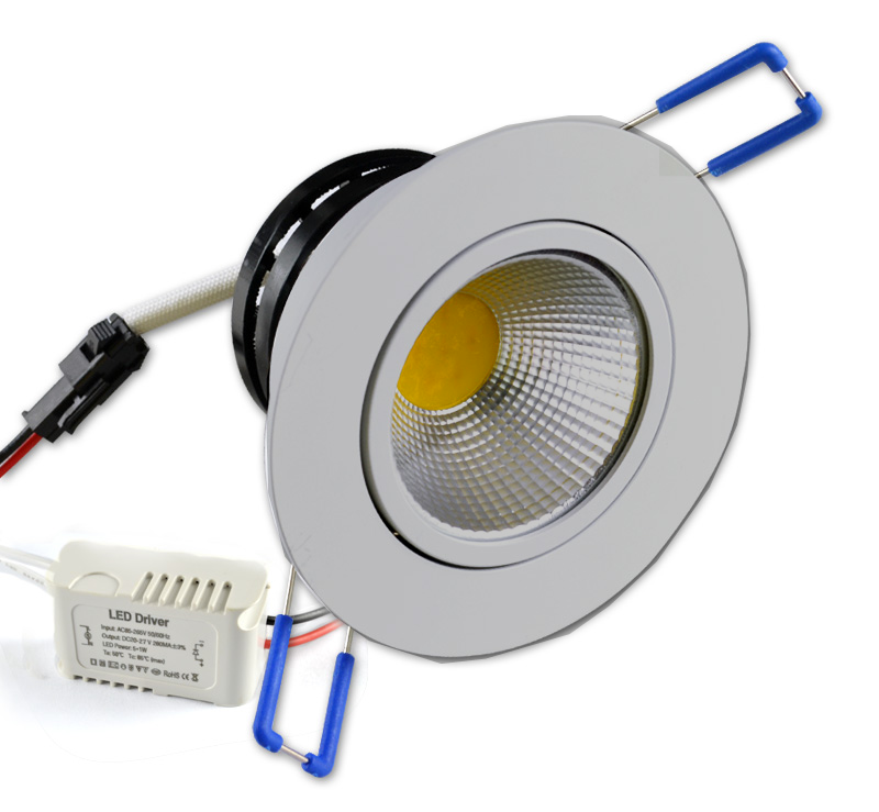 7W COB LED Dimmable Swivel Downlight EC-DLCOB-7W-WW-LED Lighting-EC-Jayso Electronics