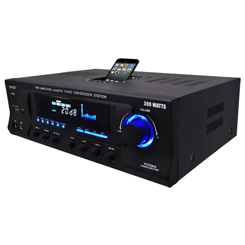 AM/FM Stereo Receiver, 120 Watt, with USB/SD/Ipod Docking Station & Subwoofer Control PT270AIU-Home Theater & Audio-Various-Jayso Electronics