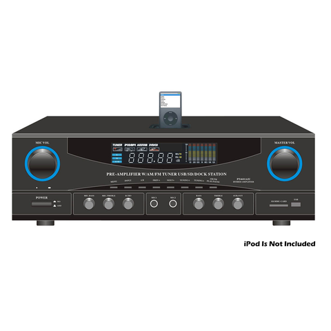AM/FM Stereo Receiver, 180 Watt, with USB/SD/Ipod Docking Station & Subwoofer Control PT4601AIU-Home Theater & Audio-Various-Jayso Electronics