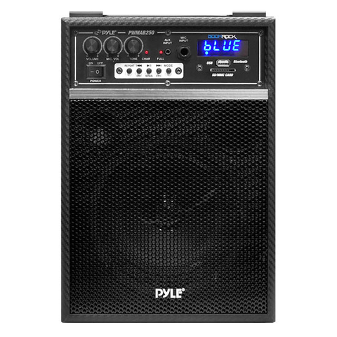 Bluetooth Portable PA 300W 6.5'' Speaker System w/ Built-in Rechargeable Battery, Wired Microphone & FM Radio PWMAB250BK-Home Theater & Audio-Various-Jayso Electronics