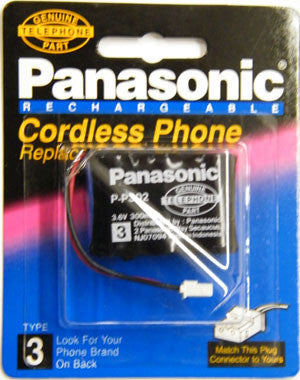 Cordless Telephone Battery, Panasonic, Type 3, P-P302PA-Batteries, Power Supplies, & Transformers-Panasonic-Default-Jayso Electronics