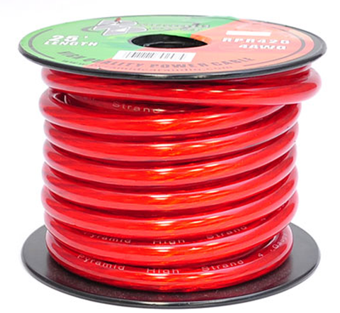 Heavy Gauge PVC Jacket Power Hook-Up Wire JPW-OFC-Wire & Cable-Various-25 Ft-Red-4 Gauge-Jayso Electronics