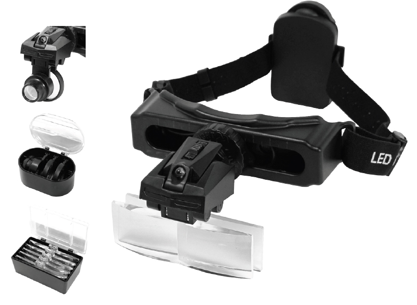 Illuminated Headwear Magnifier with Interchangeable Lenses & Loupe JHM-1044LC-8-Tools-Various-Jayso Electronics