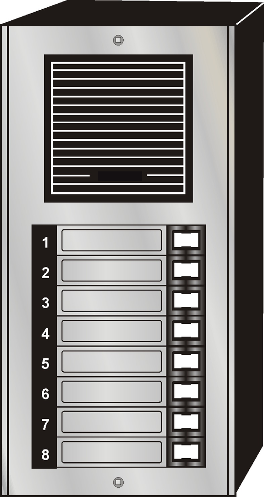 Intercom Door Entry Panel, 8 Button, Economy Style, Aluminum, Surface Mount JLP-008S-Intercom Systems-Various-Jayso Electronics