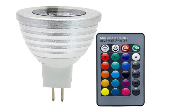 LED 2-Pin (MR16) Base Spotlight, 16-Color 4-Effect, with Wireless Remote Control EC-MR16-3W-RGB-LED Lighting-EC-Jayso Electronics