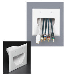 Low Voltage Cable Plate - Double Gang, Recessed JLVP-0002WH-Home Theater & Audio-Various-Default-Jayso Electronics