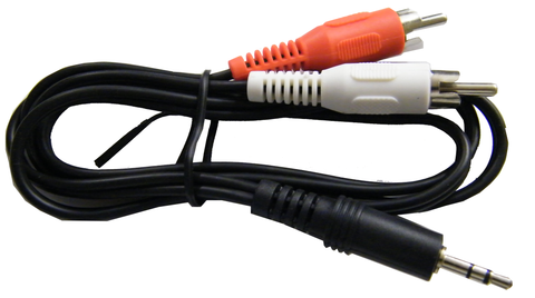 "Mini Stereo ""Y"" Cable, 1) Mini Stereo Plug to 2) RCA Plugs, JA4-027-Home Theater & Audio-Various-Jayso Electronics"