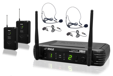 Professional UHF Microphone System with (2) Body-Pack Transmitters, (2) Headset & (2) Lavalier Microphones with Selectable Frequencies PDWM3400-Amplifiers & PA Systems-Soundaround-Default-Jayso Electronics