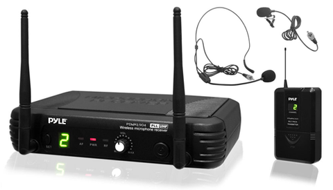 Professional UHF Wireless Microphone System w/ Body Pack Transmitter, Headset Mic & Lavalier Mic PDWM1904-Amplifiers & PA Systems-Soundaround-Jayso Electronics