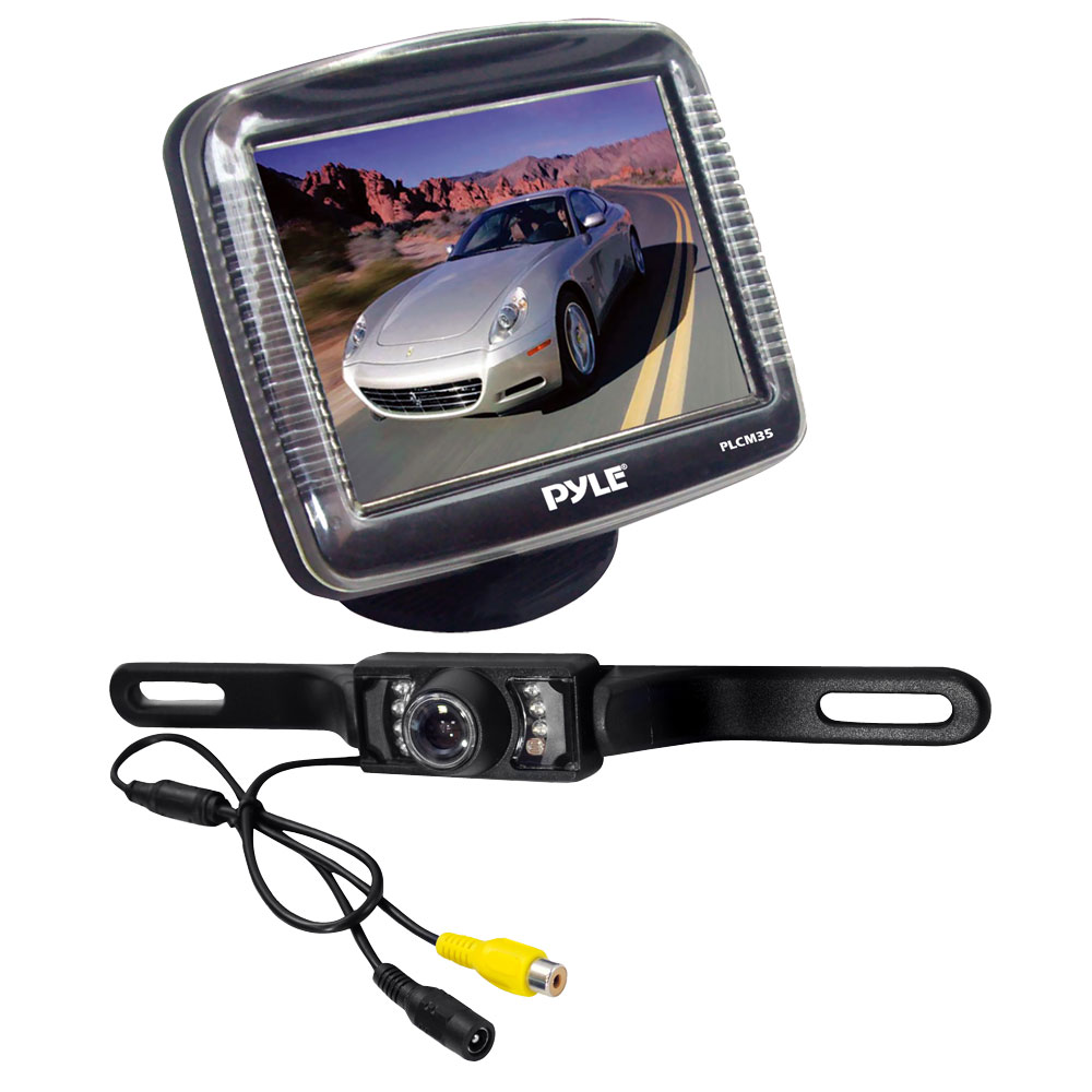 Rear View Camera Kit with Night Vision, License Plate Mount PLCM36-Security Cameras & Recorders-Pyle-Jayso Electronics