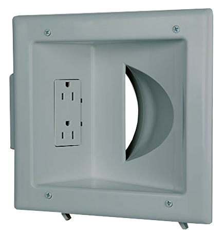Recessed Low Voltage Media Canopy Wall Plate W/ Duplex AC Receptacle JCWP-0031-Home Theater & Audio-Various-Jayso Electronics