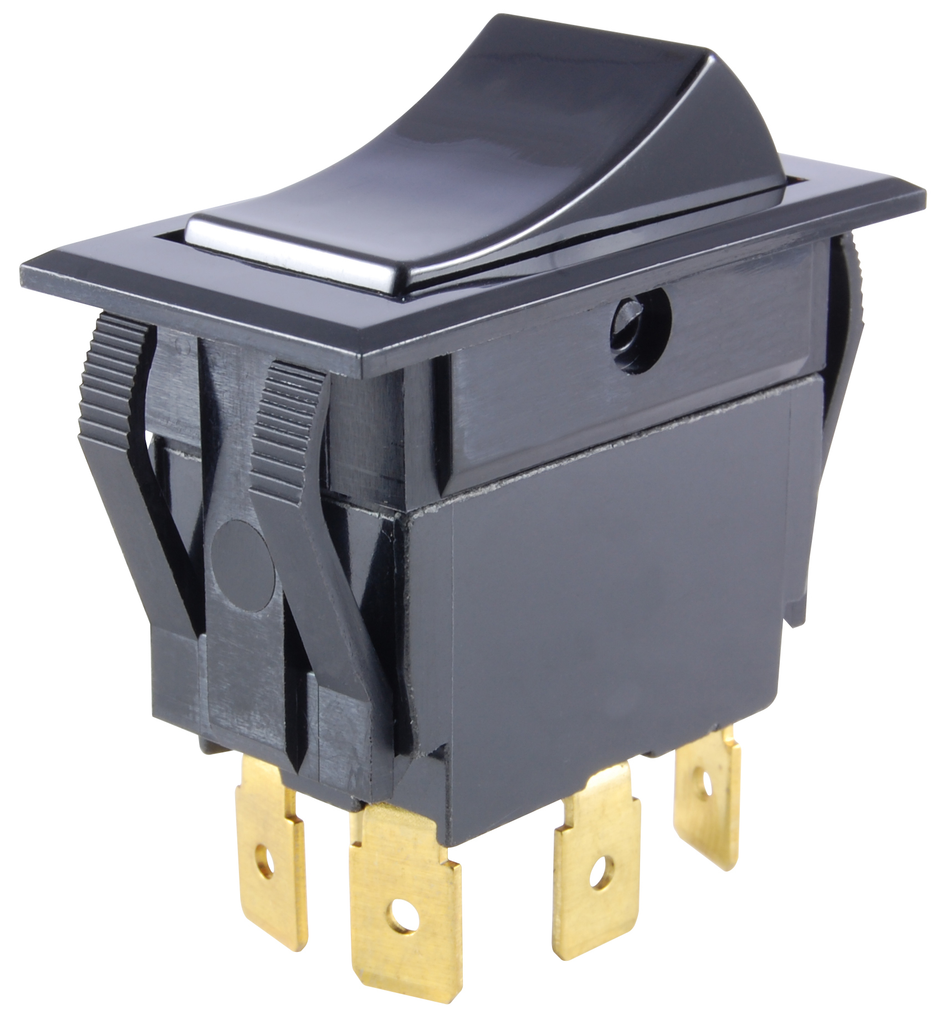 Rocker Switch, Snap-In, DPST, On/Off, with Push-On Terminals, JTS ...