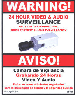 Surveillance Notification Sign, Audio/Video - Small EC-WS1-Security Cameras & Recorders-EC-Jayso Electronics