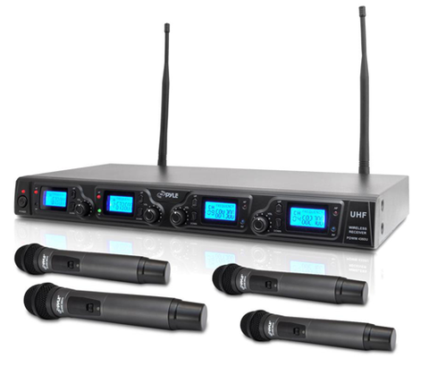 Wireless UHF Quad Microphone System, Rack Mountable, w/ 4 Handheld Microphones PDWM4360U-Amplifiers & PA Systems-Soundaround-Jayso Electronics